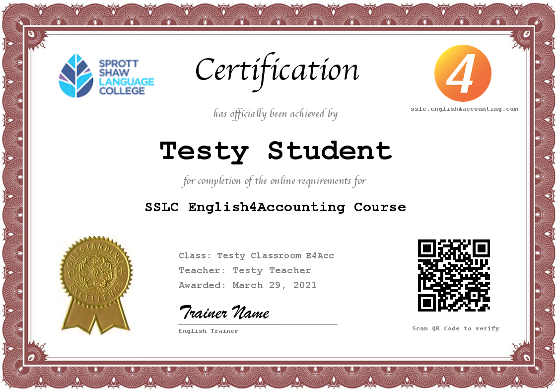 SSLC English4Accounting Certificate